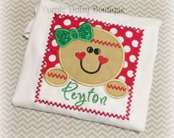 Gingerbread Girl in Box Personalized Shirt - Perfect Shirt to Celebrate the Christmas Holiday