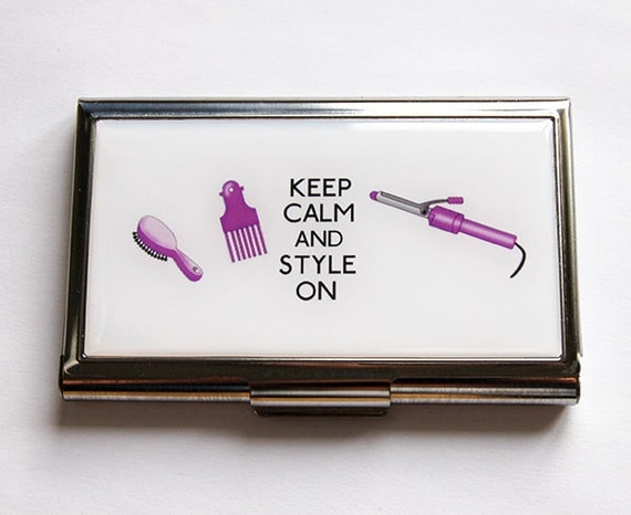 Business card case keep calm style on hair stylist for Hairdresser business card holder