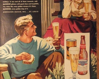 BUDWEISER BEER Couple at Christmas Original Vintage 1940s Beer Advertisement Additional Ads Ship FREE Ready To Frame