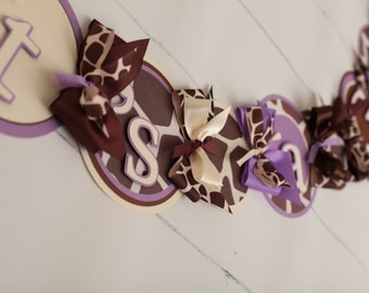 It's a Girl Banner Giraffe Purple,Cream, Brown,