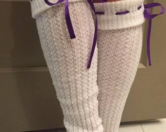 Leg Warmers : Purple Ribbon Bow - Cream Knit Boot Socks w/ Customizable Ribbon Color