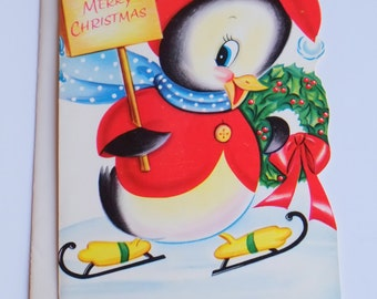 Penguin Christmas Card Greeting with Ice Skates Wreath Scarf Happy Holiday 1960 Vintage