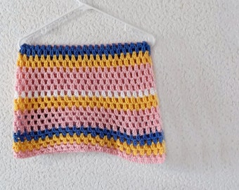 Striped Baby Blanket Afghan Throw - Soft Pink, Yellow, Blue, and White - Ready To Ship