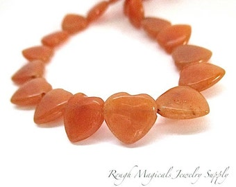 Orange Aventurine Gemstone Hearts 10mm Semi Precious Stones DIY Valentines Day Jewelry Making Peach Tangerine Heart Beads - 8 Pieces
