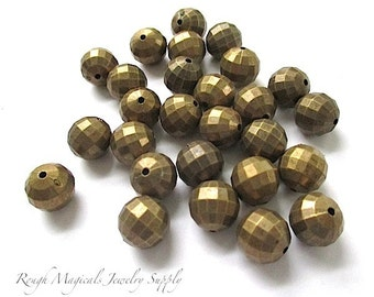 Antique Brass Acrylic Beads, 9mm Bronze Tone Metallic Beads, Faceted Round Beads, Antiqued Gold Finish, DIY Jewelry Making 36 pieces  SP432