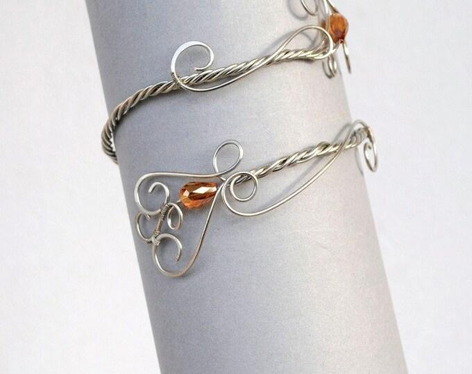Silver tone armband upper arm bracelet armlet arm cuff handmade jewelry Bobo body grecian Egyptian wedding bridal jewelry