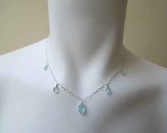 Aquamarine Gemstone Necklace- Ice Blue Aquamarine Crystals, Sterling Silver Chain, March Birthstone, Birthstone Necklace