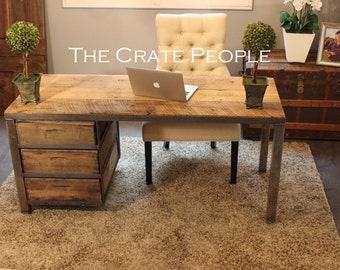 Vintage Crate Desk | Customizable | 100+ yr old Barnwood Top & Vintage Wood Crates