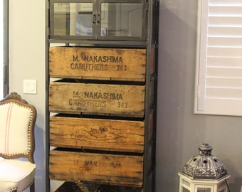 4 Drawer Media Tower or Storage Cabinet | Vintage Wood Crates & Reclaimed Barn Wood | Custom Furniture