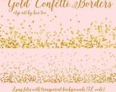 gold glitter confetti borders clip art, confetti invitation borders, gold glitter confetti sprinkle, scrapbooking instant download