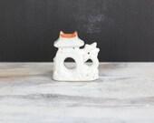 Vintage Aquarium Ceramic, Fish Bowl Ornament, Miniature Asian Temple