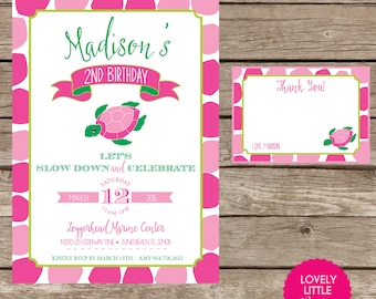 DIY Printable Turtle Birthday Invitation Kit Girl - Invite AND Thank You Card included