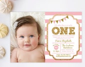 Pink and Gold invitation, 1st Birthday Invitation, Girl Birthday Invitation, Gold Glitter Invitation , Printable invite, Kids birthday