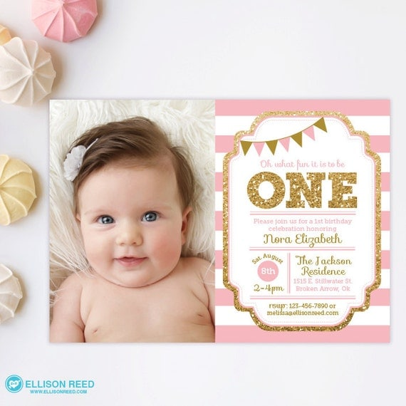 Pink Zebra Print Girls 1st Birthday Invitation: Pink And Gold Invitation 1st Birthday Invitation Girl