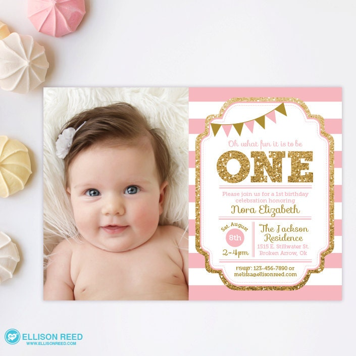 Pink and Gold invitation 1st Birthday Invitation Girl – Toddler Girl Birthday Invitations