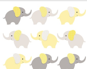 yellow and gray baby elephants digital clip art 9 pieces neutral baby
