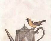 Teapot and a Yellow Bird, Art Print, Watercolor Art, Wall Art, Bedroom Decor, Girls Bedroom Art, Whimsical Art, Home Decor, Girls Gift