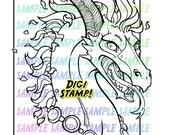 Dragon Fire Digi Stamp Digital Art PNG Download Printable Coloring Book Page
