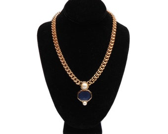 vintage MONET statement necklace / gold chain / blue purple enamel / pearl / modern / women's vintage jewelry