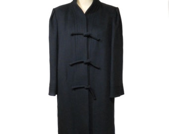 vintage 1980s TRIGERE wool coat / black / A Trigere Coat / knot buttons / winter coat / women's vintage coat / tag size 10