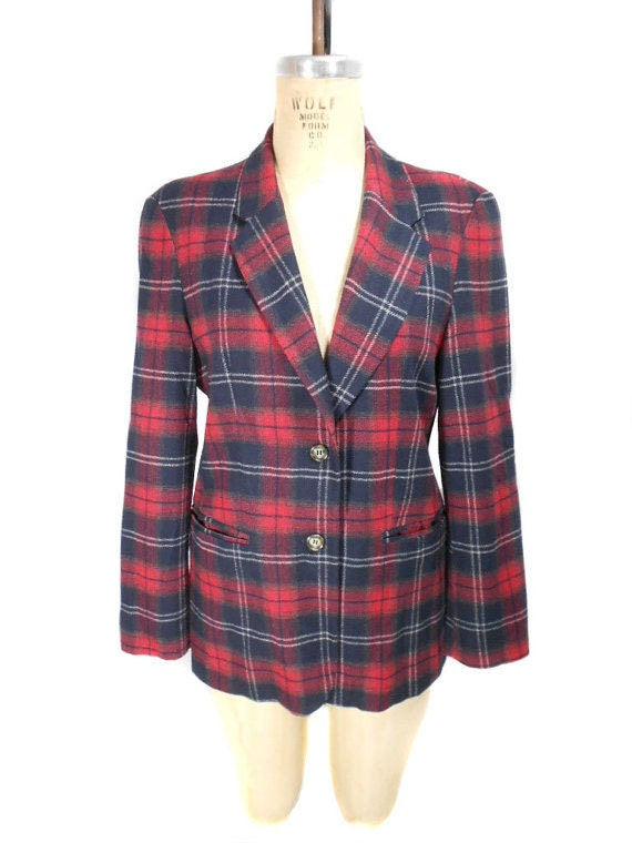 vintage 1980s BENETTON plaid blazer / United Colors of Benetton / red white blue / wool blend / tartan / women's vintage jacket / size 42