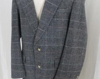 Vintage Mens jacket grey black wool sportsjacket blazer sportscoat Austin Reed size 44 plaid check