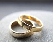 Wedding Ring Set: 18ct Yellow Gold Wedding Band Set, 4mm & 5mm, Shiny Finish, Custom Made To Fit