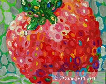"Colorful Strawberry Art PRINT from original painting ""Strawberry Whimsy"" by Tracy Hall"