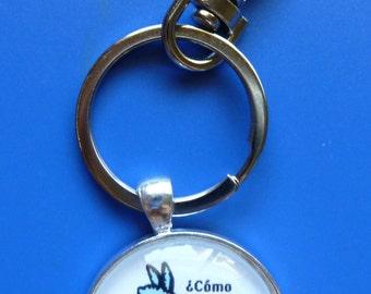 Llama Keychain-Shiny Silver Metal-30mm Round Bezel Tray with Glass Dome-Como te llama?-Animal Lover-Llama Lover-Gift-Original Artwork