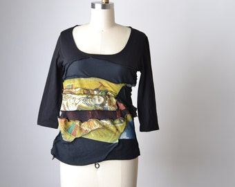 Up-cycled Spring Blouse - Yoga T-shirt Top - OOAK Shiva Blouse Top - Zen - Ripped T-shirt Top - Buddha