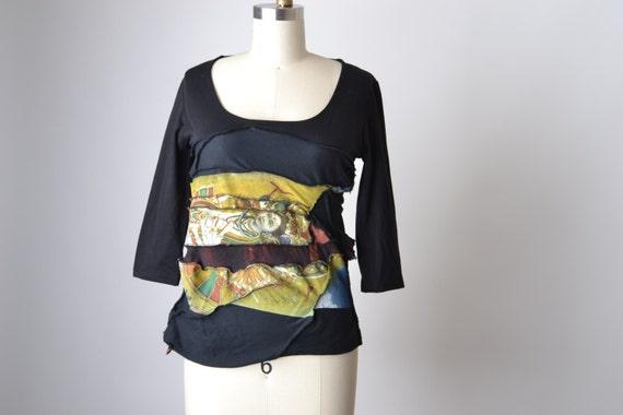 Up-cycled Spring Blouse - Yoga T-shirt Top - OOAK Shiva Blouse Top - Zen - Ripped T-shirt Top - Buddha