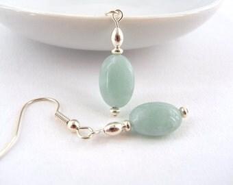 Mint green earrings, Green stone earrings, Green earrings, Small drop earrings, Mint drop, Silver earrings