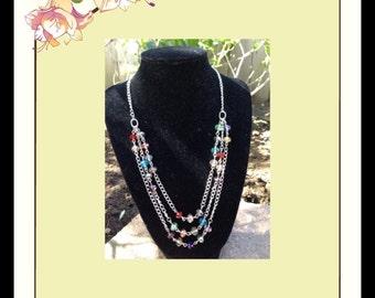 Multi-color 8mm Swarovski crystal bib necklace