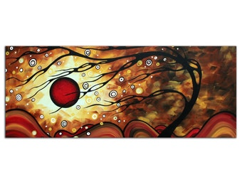 Abstract Tree Art 'Flaming Desire' Modern Wall Decor Metal Giclee, Contemporary Sunset Landscape, Autumn Trees Artwork by Megan Duncanson