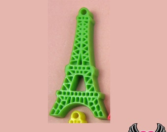 5 pc Green Paris EIFFEL TOWER Resin Flatback Cabochon or Charm 47 x 23 mm