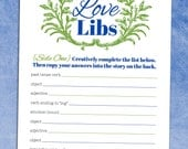Love Libs Rehearsal Dinner Game - Wedding Printable PDF - Bridal Shower Madlib