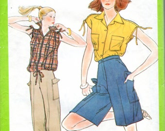 "1970s Women's Cargo Pants, Shorts and Top Pattern - Size 12, Bust 34"" - Simplicity 8447"