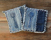 Blue Jeans Hot Pads - Appliqued Denim Potholders - The Best Potholders Ever .