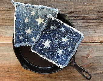 Blue Jeans Potholders - Bleached Stars Denim Hotpads - The Best Pot Holders Ever .