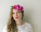 Fuchsia 'Tropical' Flower Crown - Pink Boho Wedding Bridal - READY TO SHIP