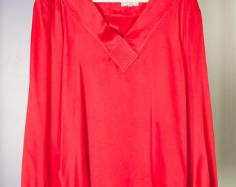 Blusa vintage in seta rosso fuoco // anni 80 // Taglia M