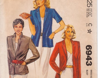 """Misses Blazer with Choice of Sleeve Length Vintage 1980 Sewing Pattern, McCalls 6943, Size 10 Bust 32 1/2"""" (83cm), Free US Shipping"""