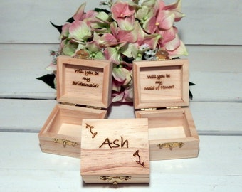 Personalized Set of THREE Bridesmaid Little Favor Boxes for Rustic Weddings, Maid of Honor, Will you be my Bridesmaid
