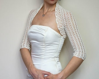 Romantic Cream Wedding Bolero Shrug cotton lace crochet bolero jacket