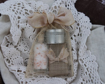 Spa Party Favor with Candle -Artisan Soap and Bath Salts-Weddings-Bridal-Baby Showers-Belle Savon Vermont
