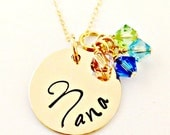 Personalized Gold Grandmother, Mommy, Nana Necklace - Thick 14K Gold Filled Pendant with Swarovski Crystal Birthstones - Custom Family Gift