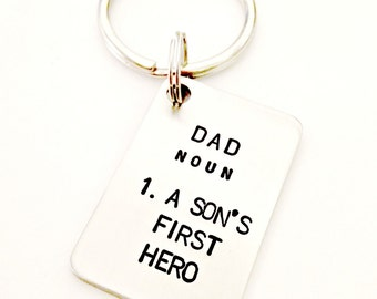 Dad A Son's First Hero Custom Hand Stamped Stainless Steel Tag with Key Ring - Father's Day Men's Gift Idea - Personalized Gift for Daddy