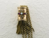 Stunning Gold Filled Chain and Slide with Tassels, Garnets and Opal  Victorian