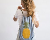 pineapple backpack pineapple rucksack pineapple drawstring bag  in light blue grey yellow color fruit canvas bag colorful backpack