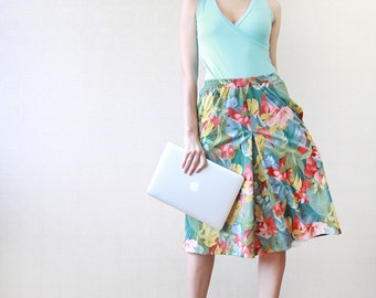 Spring floral A-line knee length skirt S